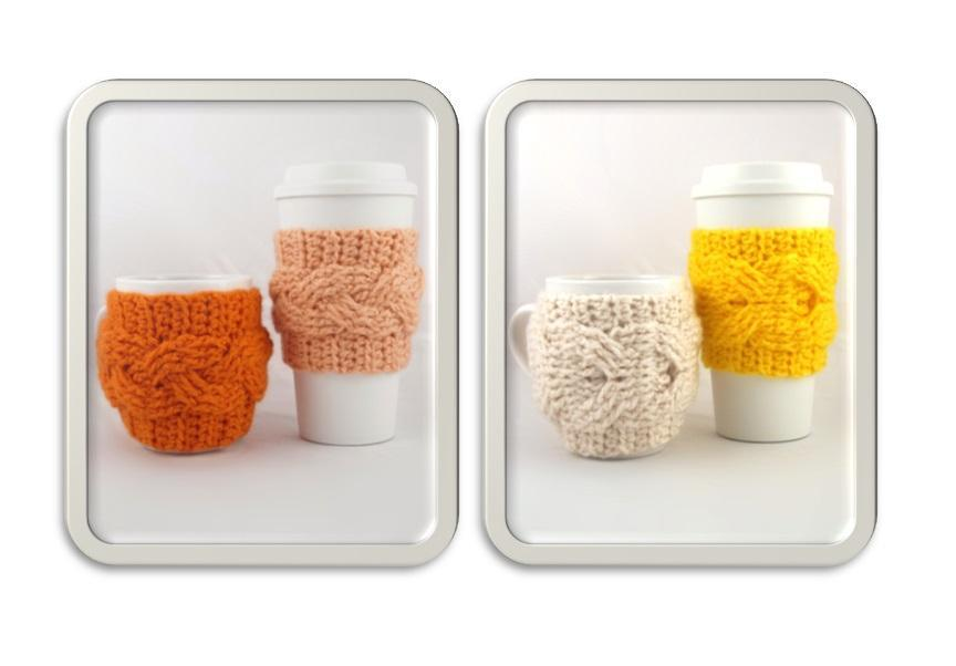 Crochet cable coffee cozy