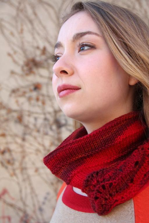 Knitted red cowl