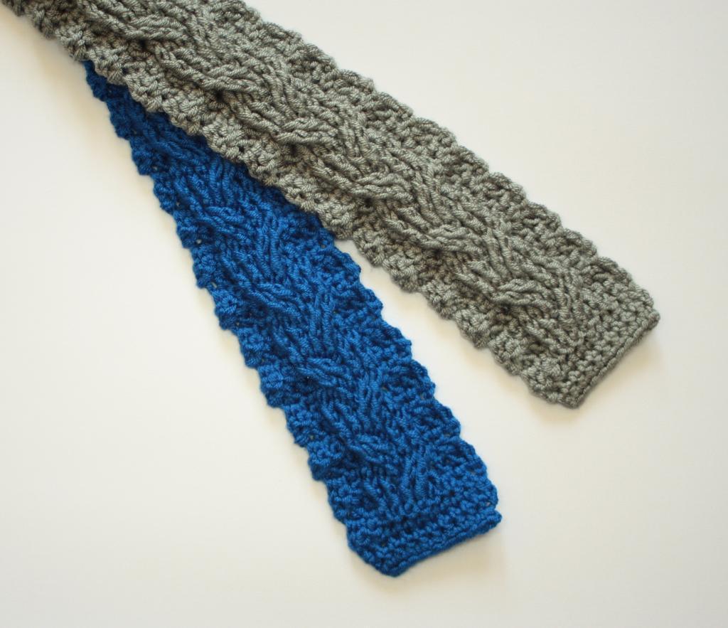 Cabled crochet necktie