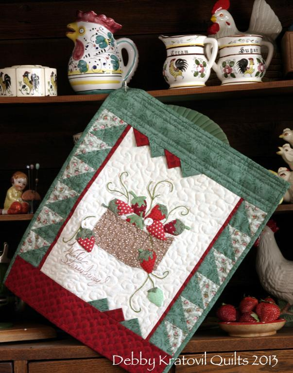 Quilt Pattern With Applique Strawberries