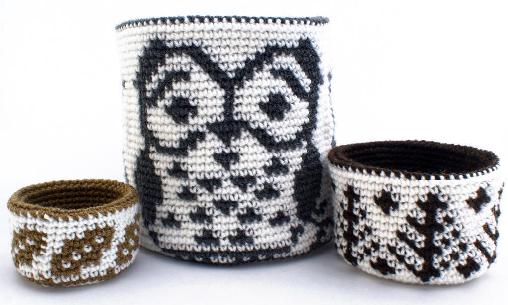 Crochet forest owl basket