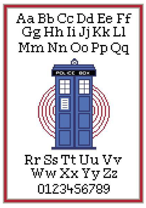dr who tardis and alphabet cross stitch sampler