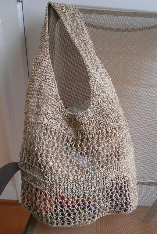 Knitted jute cotton market bag