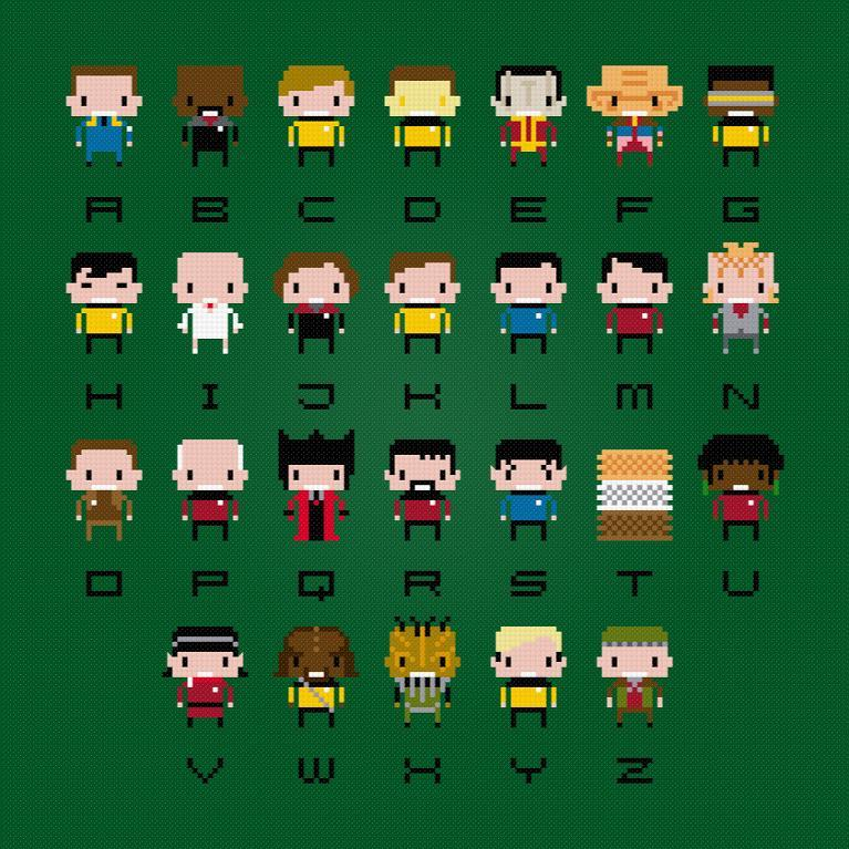 star trek alphabet sampler