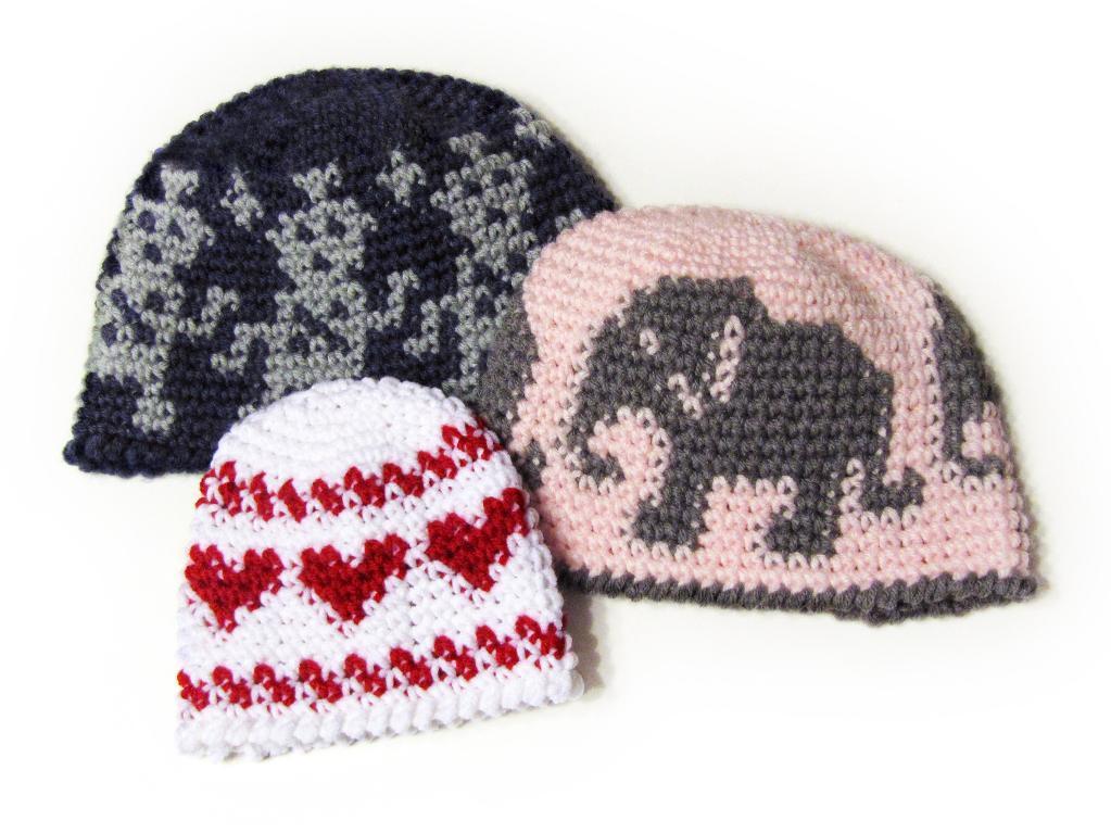 Crochet Fair Isle elephant and heart hats