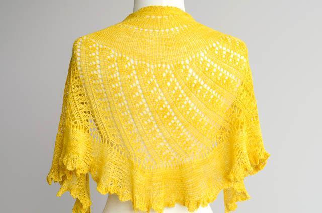 Yellow Lace Shawl on a Dressform