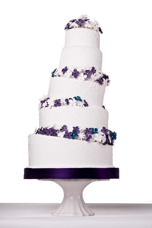 White and Lavender Flowers Cake