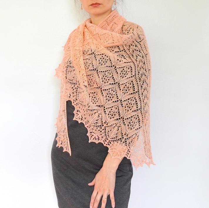 Woman Modeling a Pink Lacy Knit Shawl
