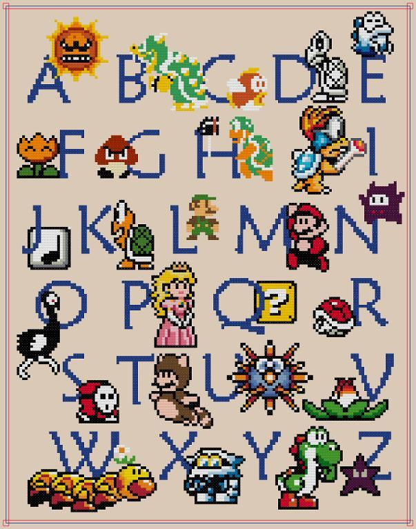 mario alphabet cross stitch sampler