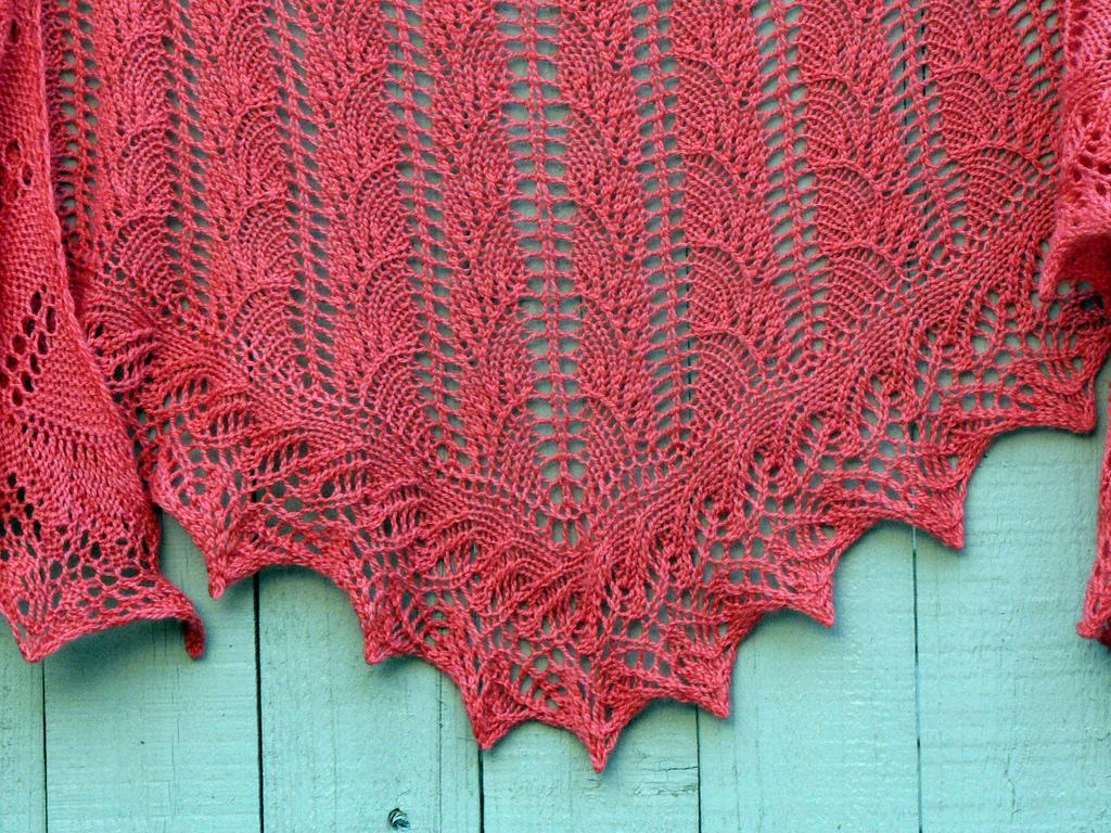 Knitted one skein flambe shawl