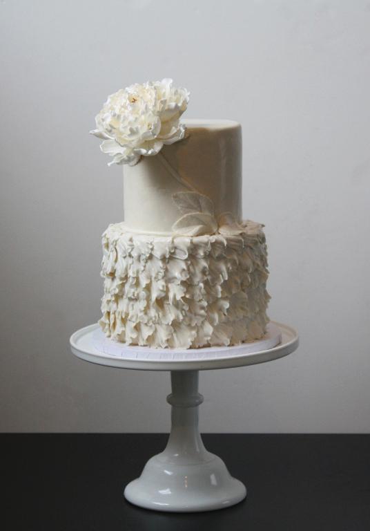 peony petal white wedding cake
