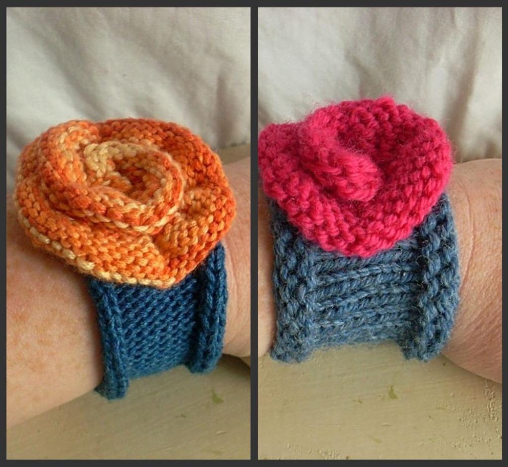 Knitted rose cuff