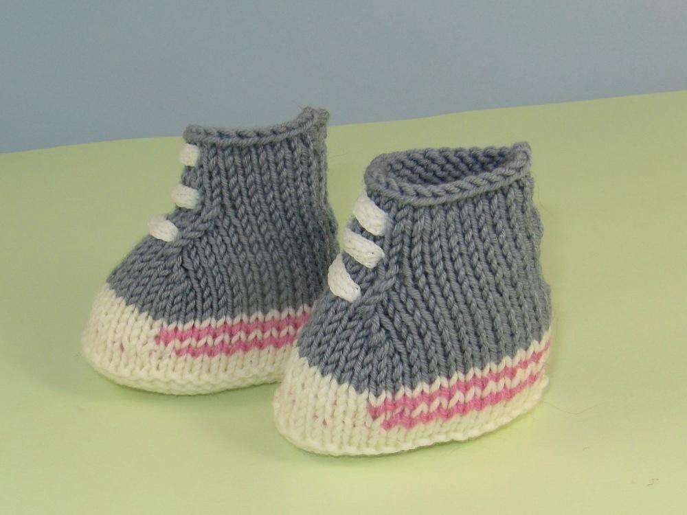 Knitted basketball baby booties