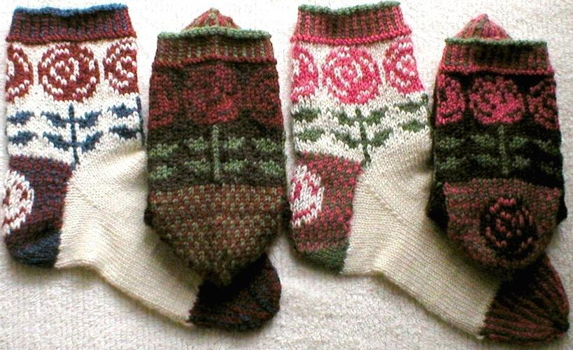 Art Nouveau knitted rose socks
