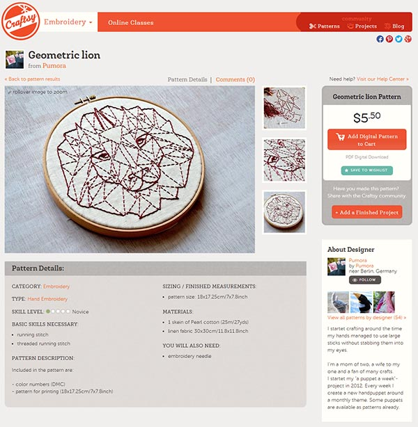 screen shot of embroidery listing on craftsy