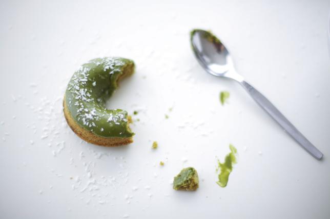 Half Eaten Doughnut with Green Tea Glaze