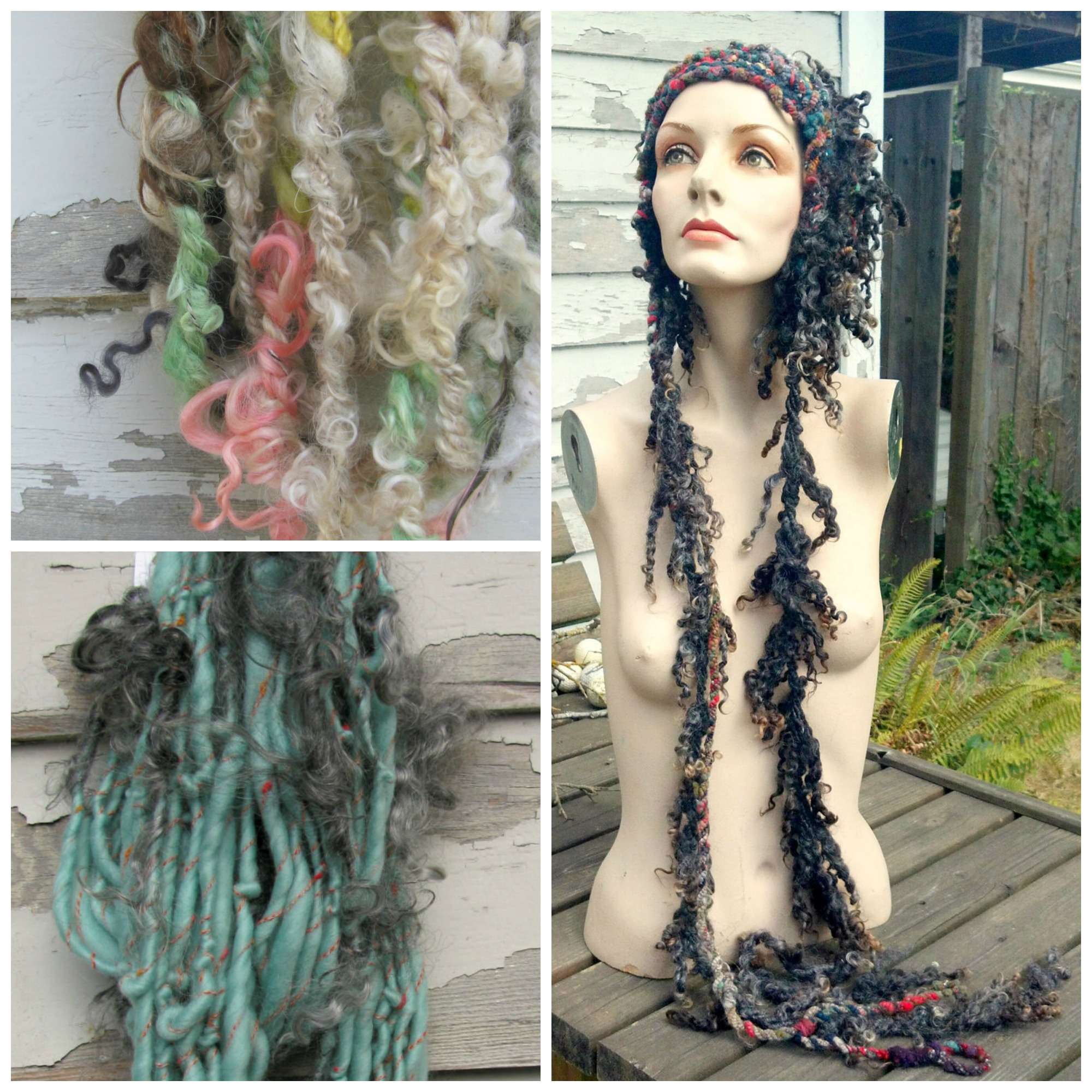 Handspun Yarn and Crochet Hat with Wool Locks by Girl with a Hook