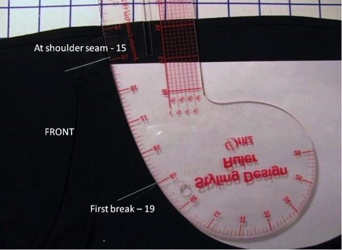 Taking style measurements from garment neckline