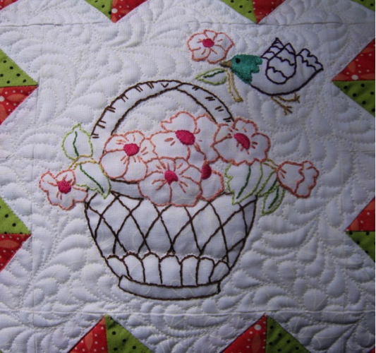 May Basket Quilted Pillow Custom quilt design