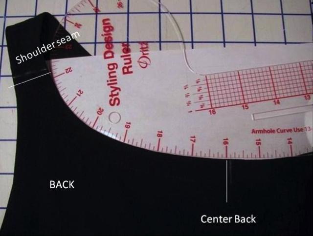 Measuring the back neckline of a garment