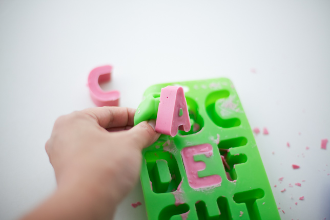 removing edible letters from the mold