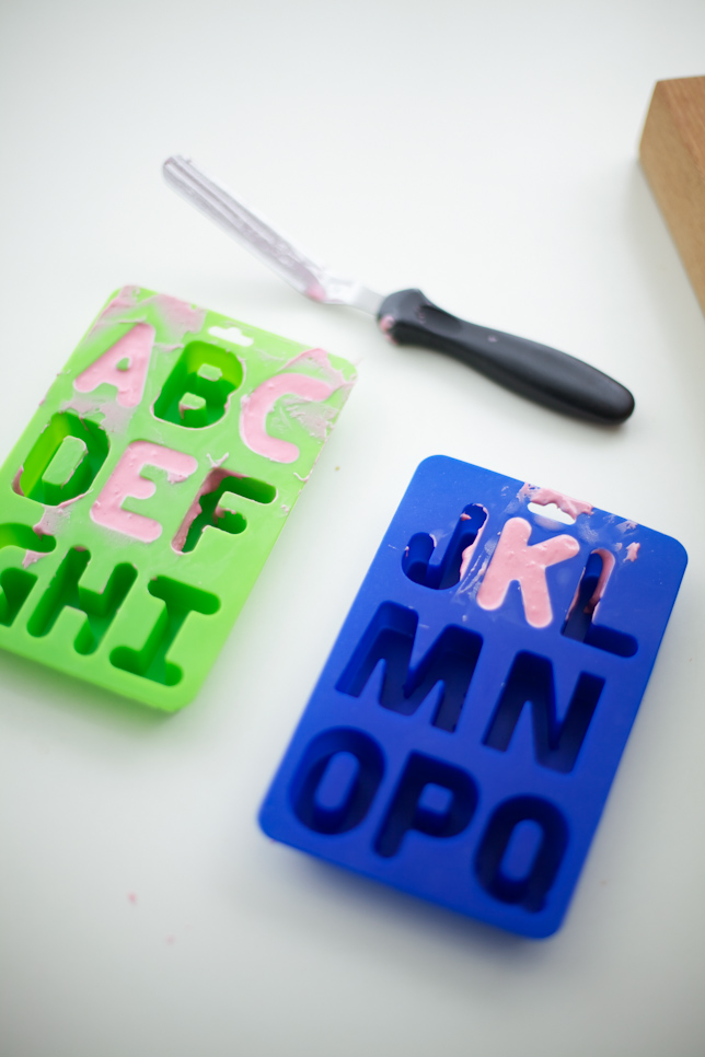 making edible letters with alphabet molds