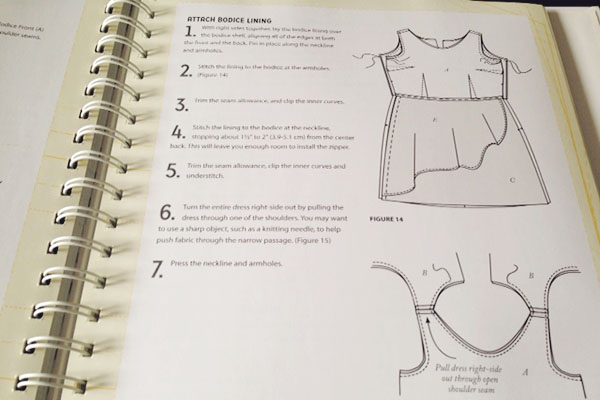 Reference book for sewing a bodice lining