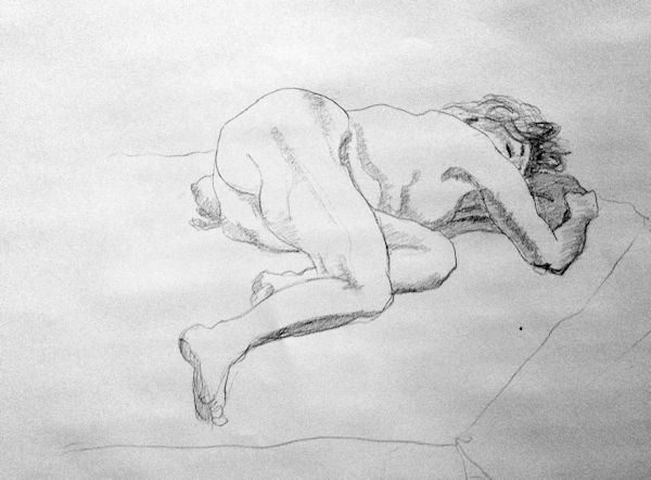 Drawing of a reclining figure with foreshortening