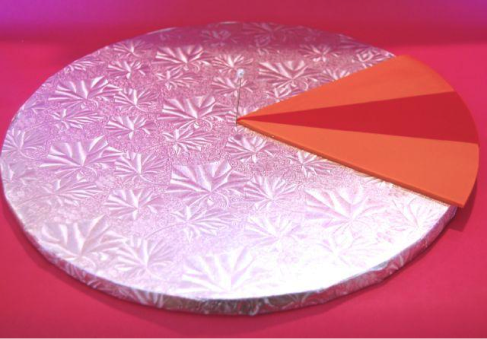 placing bright fondant triangles on a cake board
