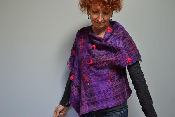 Woman Wearing a Purple Woven Top