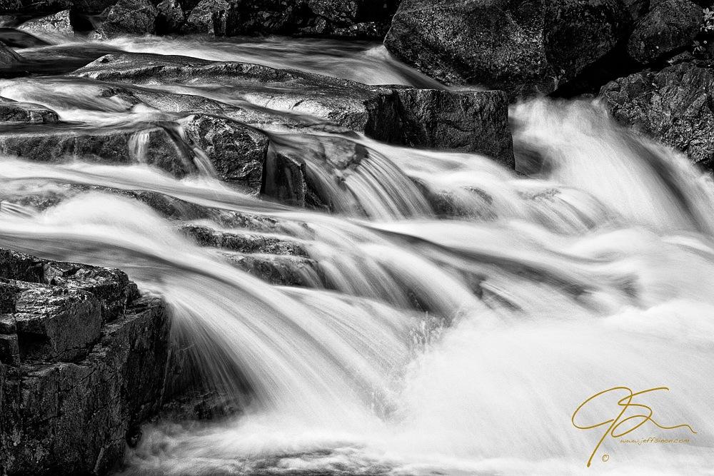 Ansel Adams Style Waterfall B&W