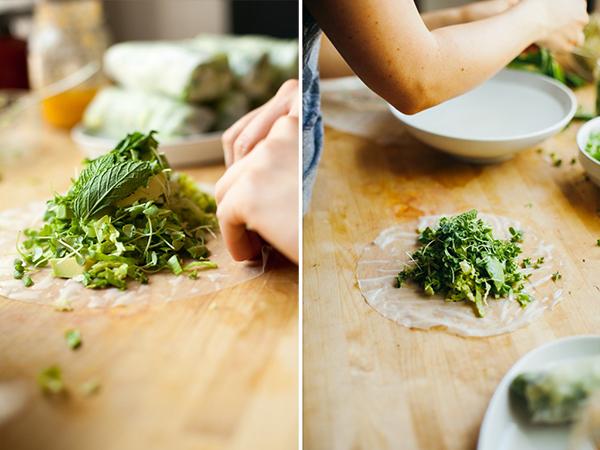 Assembling a Vietnamese spring roll