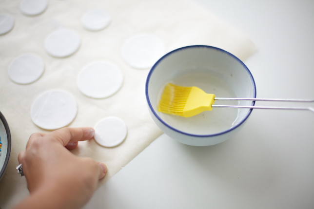 Brushing gum paste with simple syrup