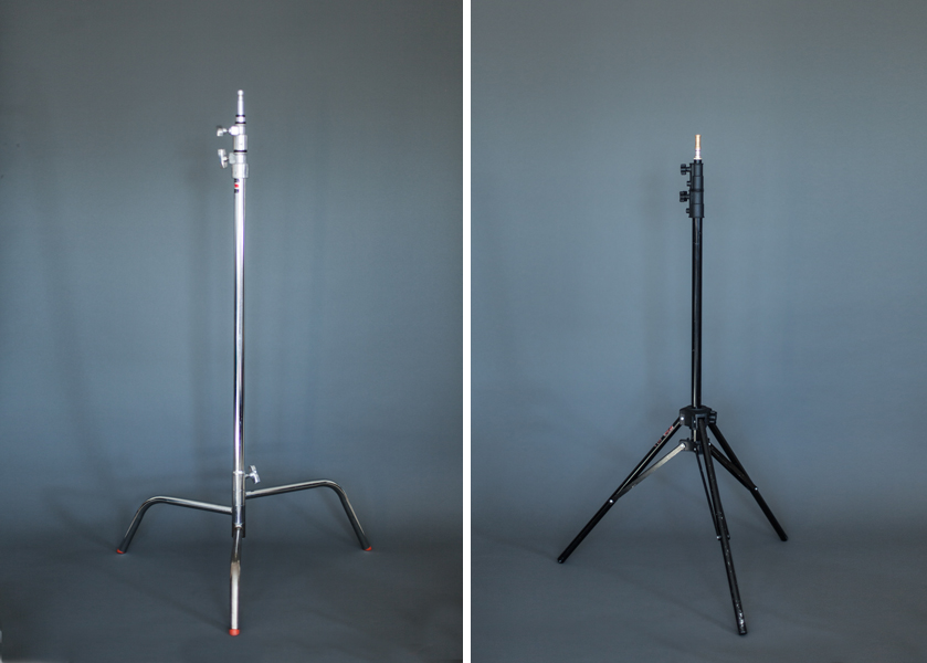 A C-Stand (left) and a tripod stand