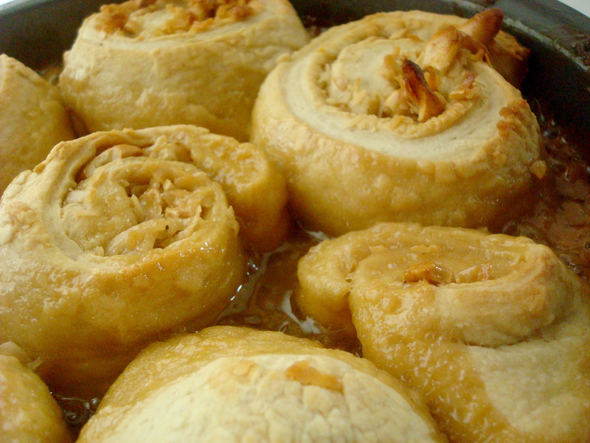 Pan full of baked homemade sticky buns