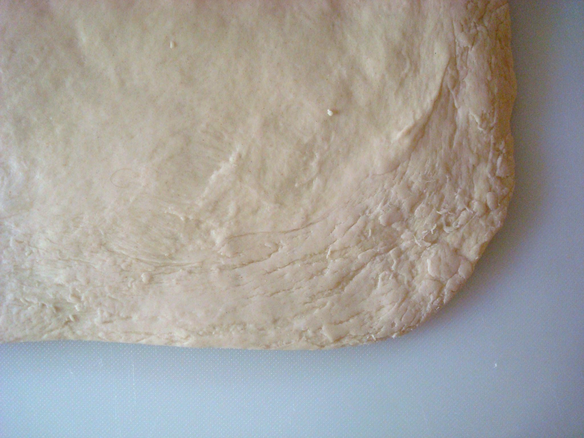 Rolled out sticky bun dough