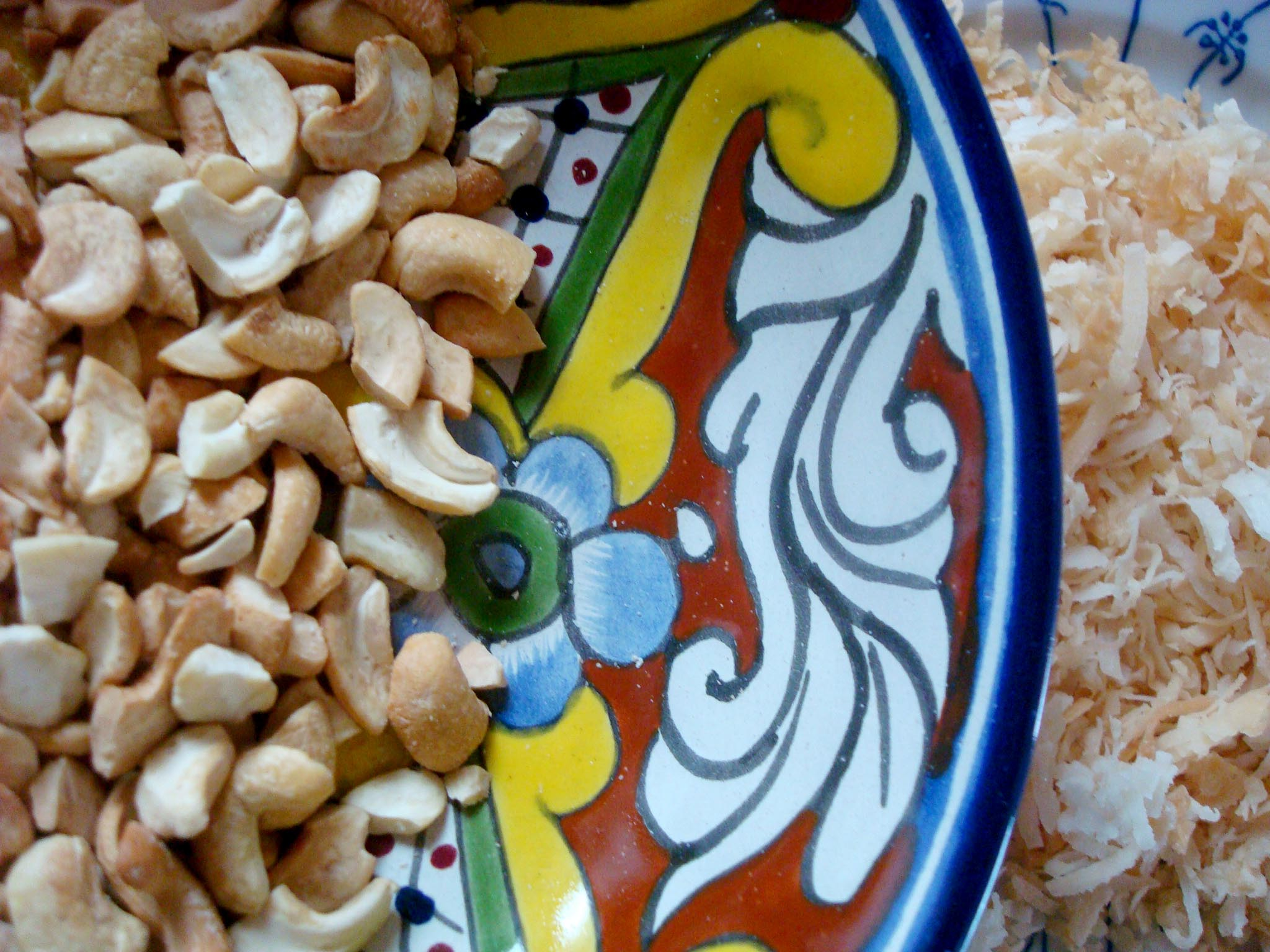 Crunchy cashews and toasted coconut