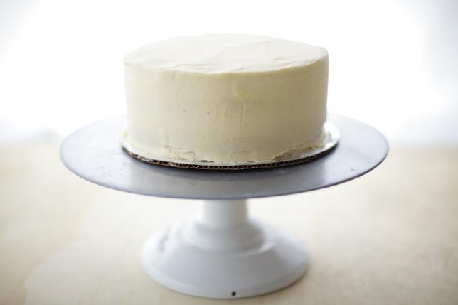 White buttercream crumb coating