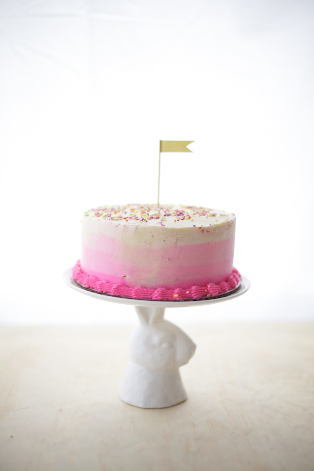 Finished Pink Ombre Striped Cake!
