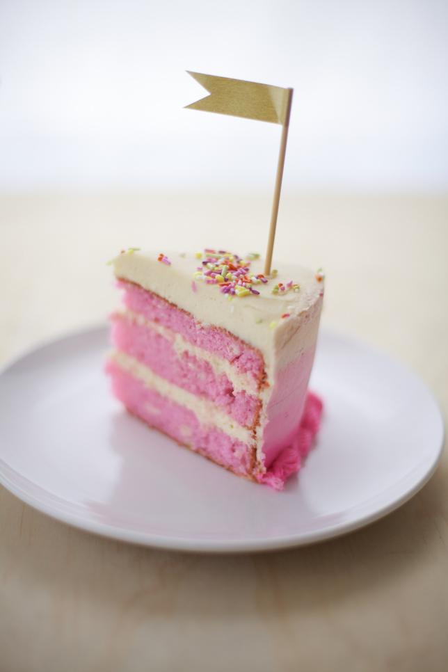 Pretty Little Slice of Pink Ombre Striped Cake