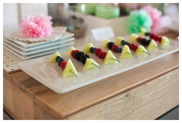 plated desserts: fruit kabobs