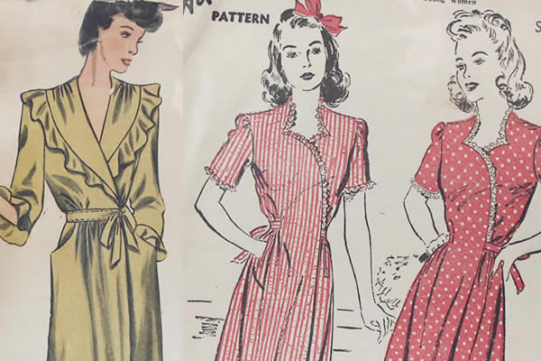 Sewing Pattern Images for a Vintage Wrap Dress