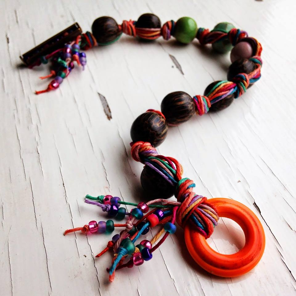 A fun bracelet with lots of colourful Irish waxed linen cord