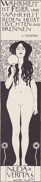 Klimt's Nudas Veritas lithograph illustration for Ver Sacrum
