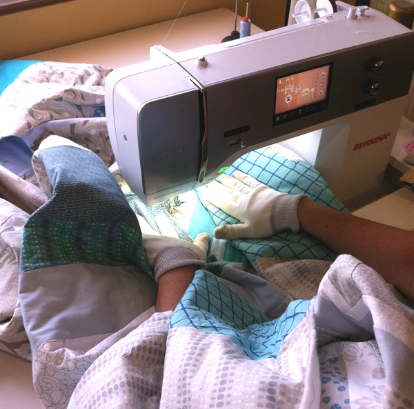 Quilting gloves and extra table space help with free-motion quilting