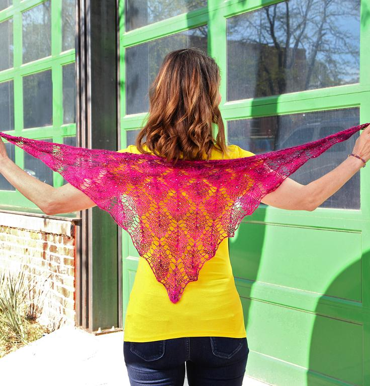 Knit square sequins shawl