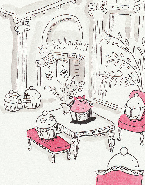 Eloise-themed cupcake illustration tells a story