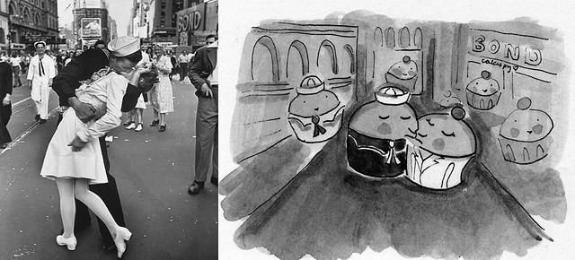 V-J Day in Times Square + Cupcake illustrated version