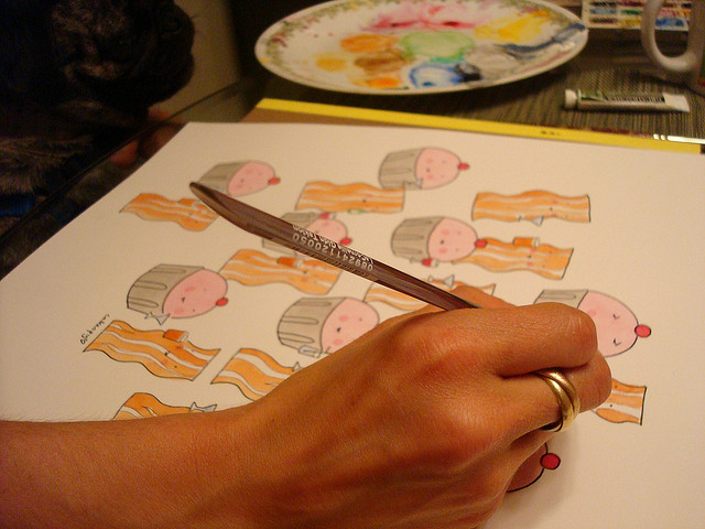 Pen and ink and watercolor with bacon art