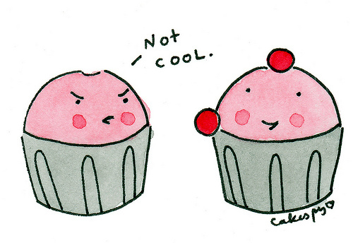 Frustrated cupcake showing lots of emotion